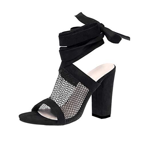 Juleya Damen High Heels Sandaletten Sommer Sandalen Absatzschuhe Sexy Mesh Blockabsatz Riemchen Sandalen 10cm Peep Toe Schuhe Partyschuhe Offene Sommerschuhe Schwarz 42 -