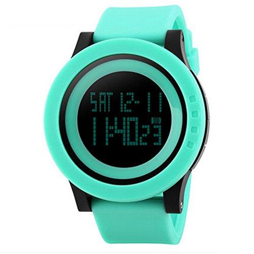 Elektronische Uhr Leuchtende Wasserdichte Multifunktionsuhr Student Männer Und Frauen Tisch Digital Outdoor Casual Uhr (Farbe : Green) ()