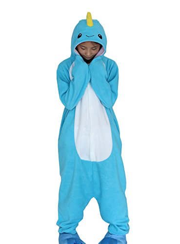 DELEY Unisex Adulto Onesie Anime Cosplay Costume Cartoon Animali Kigurumi Pigiama di Felpa Pigiameria Unicorn Balena XL