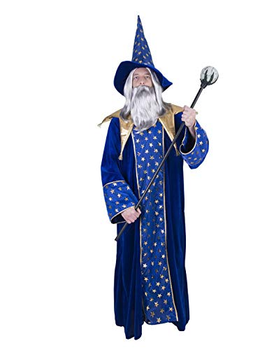 erdbeerclown - Herren Männer Kostüm Hochwertiges Hexer-Set Magier Zauberer Robe mit Hut, Wizard Robe with Hat, perfekt für Halloween Karneval und Fasching, One Size, Blau