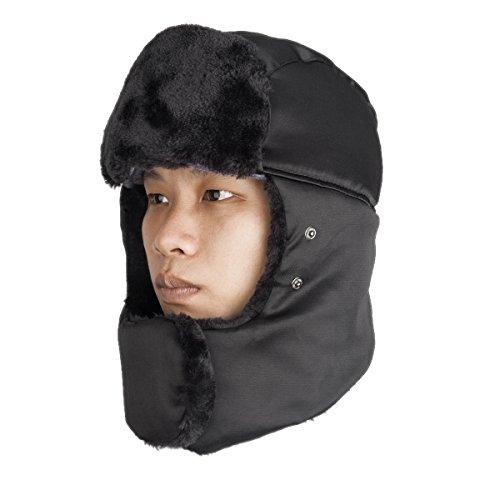 YYGIFT® Unisex Winter Fliegermützen Damen und Herren Haube Ohrenschützer Mütze mit einem Mundschutz gegen kalte Ohren kalte Nasen Winddicht und Wasserdicht (Schwarz)