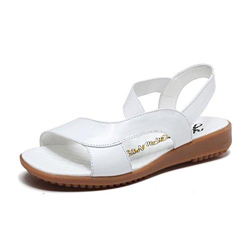 Sommer Damen Mode Sandalen komfortable High Heels, 37 Blau White