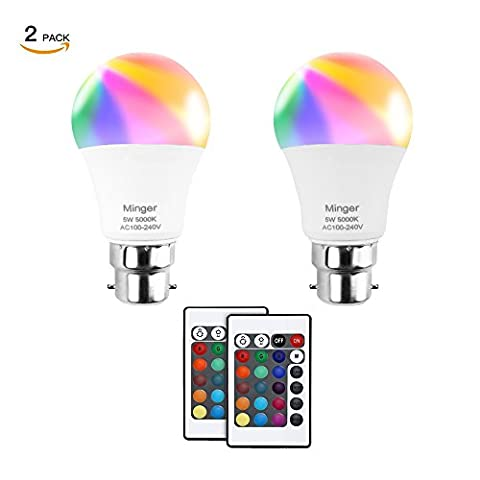 Minger Dimmable RGB LED Bulb,5W B22 Colored Changed Smart Bulbs