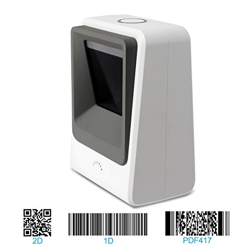 Alacrity Handsfree 2D 1D Wired Barcode Scanner, Omnidirectional Desktop Bar Code Reader with USB Cable, Capture Barcodes from Mobile Phone Screen, White
