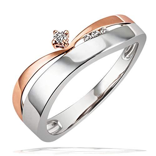 Goldmaid Damen-Ring Weissgold u. Rotgold 585 Bicolor 4 Diamanten Grösse 56 Pa R4264RG56 Brillanten  Diamantring Verlobung