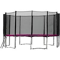 Gartentrampolin Trampolin 457 bis 460 cm in pink mit Sicherheitsnetz und Einstiegsleiter