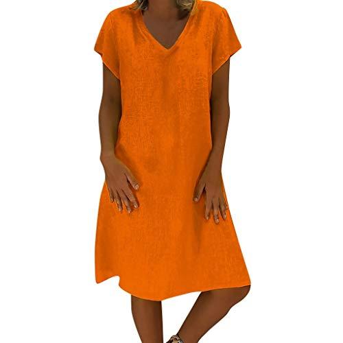 Yvelands Damen Sommerkleider T-Shirt Baumwollbeiläufiges Plus Size Minikleid (Orang,EU-34/S)