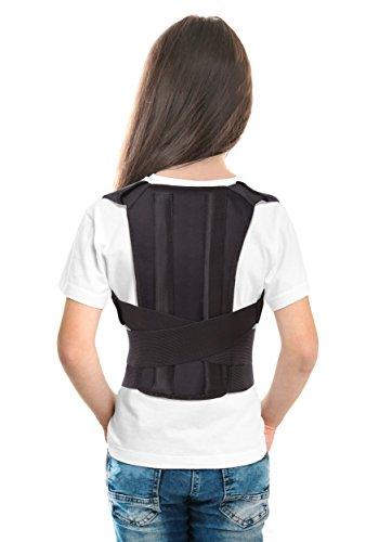 TOROS-GROUP Corrector Postura y Soporte para Espalda- corrección de postura- el Apoyo a La Columna Vertebral- Cinturón -Faja Corrector Postura Soporte Espalda para Niños, Adolescentes y Adultos JóvenesSmall Negro