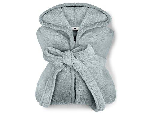 extra weicher Kapuzen-Bademantel aus Kuschelfleece - erhältlich in 7 modernen Farben und 5 Größen - unisex & wadenlang, M, grau