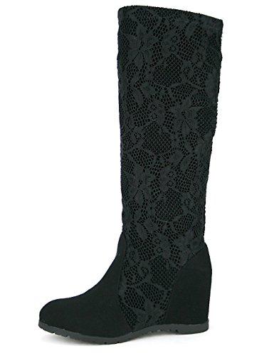 Cendriyon Botte Noire Dentelle ILISA Mode Chaussures Femme