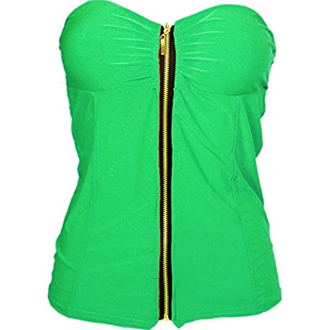 Toocool - Bustino corsetto donna imbottito top zip sottogiacca bustier