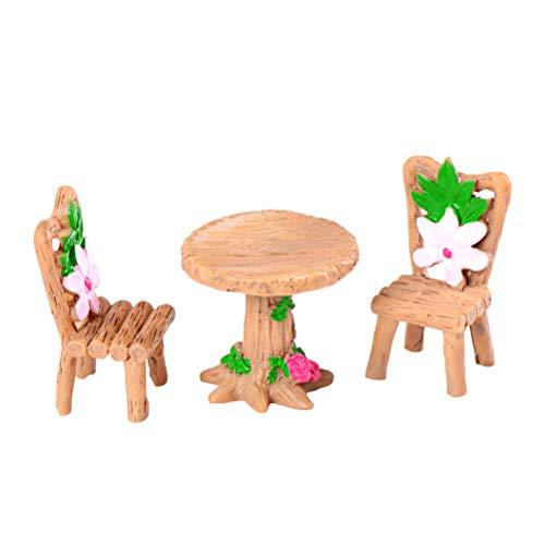 (Vosarea Desktop Ornamente Mini Holz Tisch und Stuhl Ornament Moos Micro Landschaft Pflanzen Dekoration Tischdekoration 3 stücke)