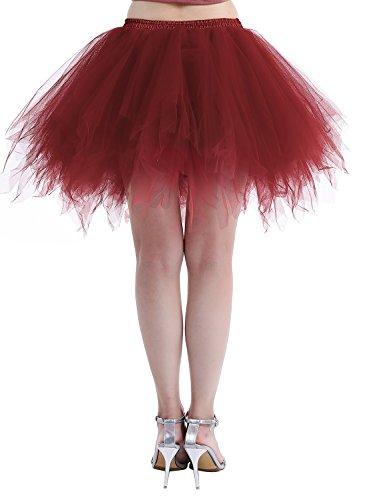 Dressystar Petticoats Minirock Kurz Unterrock Tutu Unregelmäßig Tüll Damen Mädchen Ballettrock Multi-Schichten Weinrot
