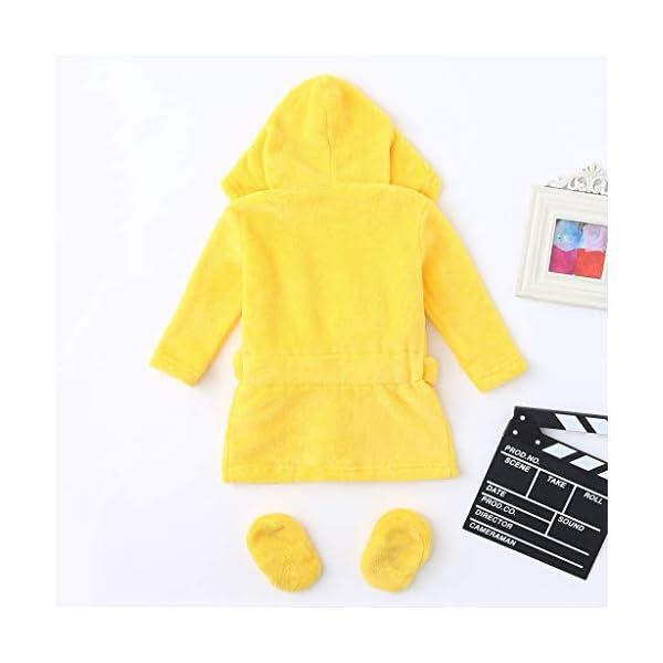 QinMM 0-12M bebés niños Pato Dibujos Animados Franela Albornoces Ropa de Dormir con Capucha + Calzado Bata de baño 3