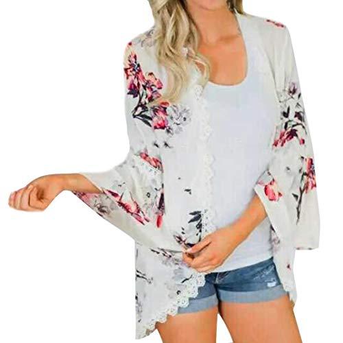 MRULIC Damen Florale Kimono Cardigan Boho Chiffon Sommerkleid Beach Cover up Leicht Tuch für die Sommermonate am Strand oder See (L, Y-Weiß)