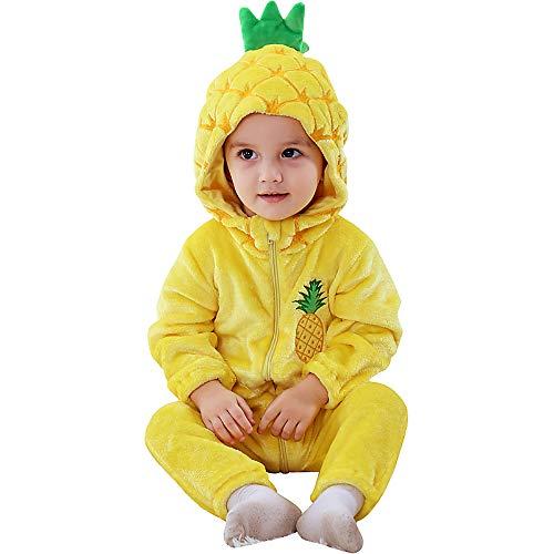 Katara 1778 Ananas Baby-Kostüm Karneval, kuscheliger Jumpsuit, verschiedene Tiere & Größen, Pyjama-Qualität, gelb-orange (Super Cute Baby Kostüm)