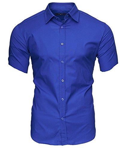 KAYHAN Herren Kurzarm Hemd Caribic Blau ( S )