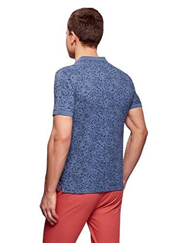 oodji Ultra Herren Bedrucktes Pique-Poloshirt Blau (7075F) ...