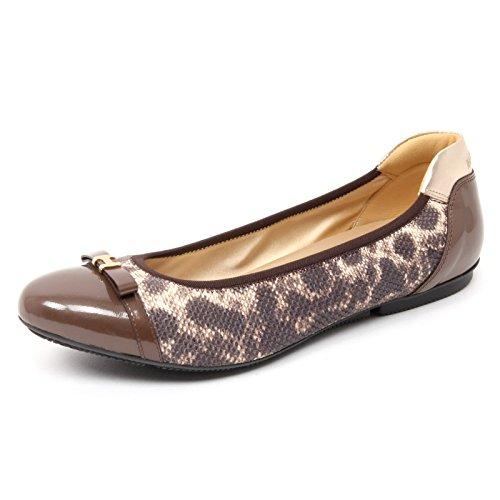 B4753 ballerina donna HOGAN WRAP 144 scarpa marrone animalier shoe woman [37]