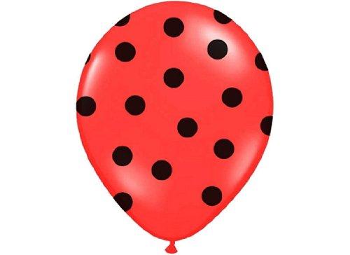Belbal - Conjunto de globos (6 unidades, 30 cm de diámetro), diseño con puntos, color rojo y negro