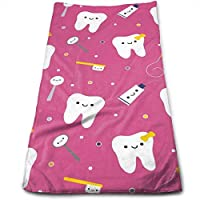 ewtretr Toallas De Mano,Dentistry Happy Teeth Friends Microfiber Beach Towel Large 11.8