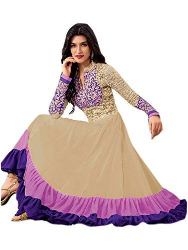 New Heavy Kriti Sanon Cream & Violet Long Length Traditional Anarkali Suits- Free Size (FBA172-2129)