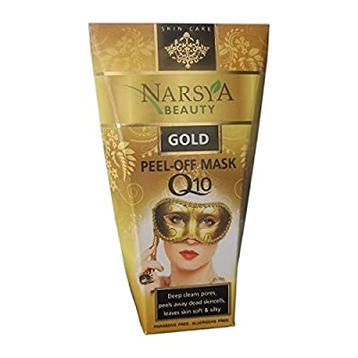 Gold Anti-Wrinkle Peel-off Facial Mask with Q10, D-pantenol and Natural Cotton Extract - Deep cleans pores, peels away dead skincells, leaves skin soft & silky. 100ml from Arsy Cosmetics