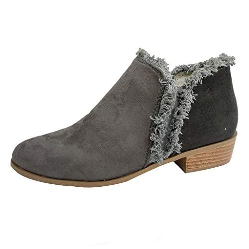 Stiefeletten Damen mit Blockabsatz,Damen Schuhe Elegante Einfach Runde Kappe Winter Verdicken Plüsch Warme Klassische Ankle Boots Winterschuhe Riou Günstig