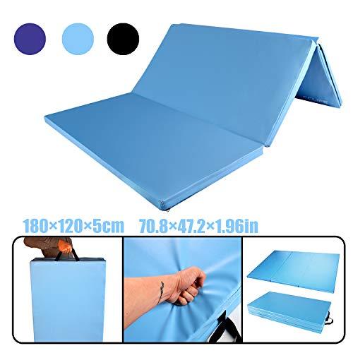 CCLIFE 180x120x5cm Turnmatte Weichbodenmatte Klappbar Gymnastikmatte Farbauswahl, Farbe:Hellblau