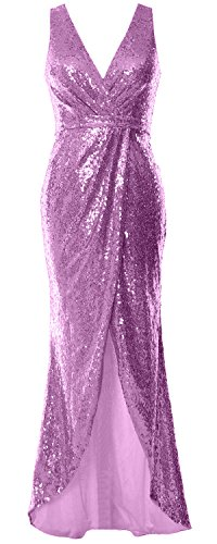 MACloth Gorgeous V Neck Sequin Hi Lo Bridesmaid Dress Wedding Party Formal Gown Rosa