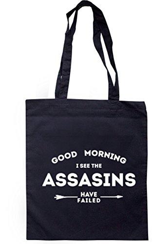 breadandbutterthreads Good Morning I See the Assasins hanno fallito Borsa 37,5cm x 42cm con manici lunghi Navy