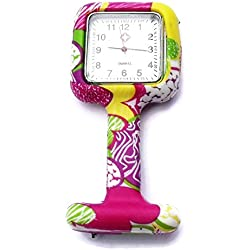 QBD Nurses Fashion Coloured Patterned Silicon Rubber Fob Watches - SQUARE Yellow Green Flowers