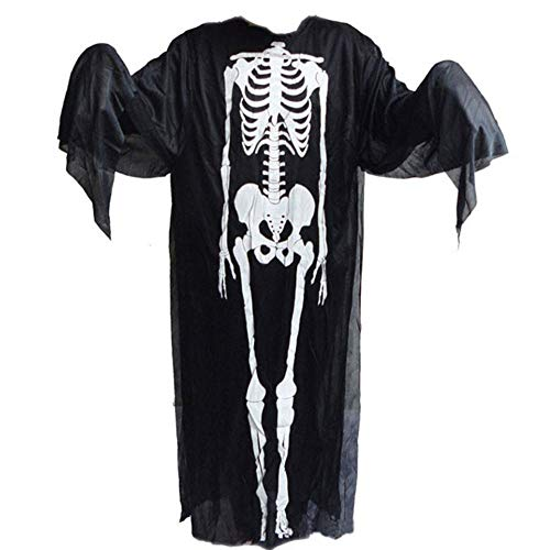 GYH Herren Damen Skelett Kakleid Lang Kostüm Schwarz Halloween Knochenkleid Tod Zombie Horror Clothing Fasching