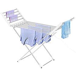 Leogreen - Sèche-Linge Electrique, Sécheuse à Linge Chauffante, Classique, Blanc, Dimensions du Produit replié: 113 x 53 x 7 cm, Longueur du câble: 1,2 m
