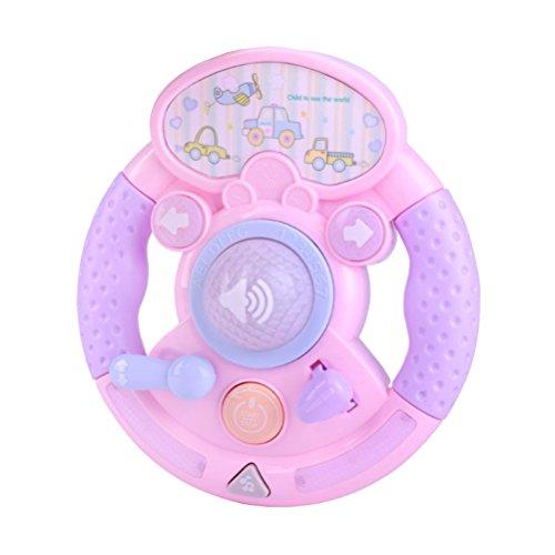 Toyvian Bebé Niños Juguetes Musicales Juguetes educativos tempranos Juegos Inteligentes Juguetes Volante Piano (Rosa, sin batería)