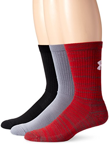 Under Armour Herren Sportswear Socken und Strümpfe Twist 3PK Crew, Red, L, 1281633 (Socken Kinder Armour Under)
