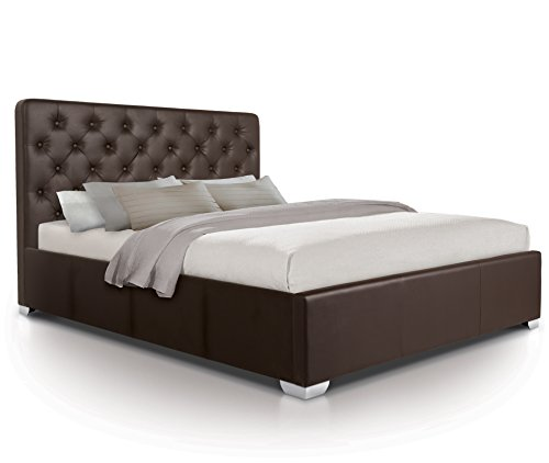Otto-Garrison Opulent Tall Contemporary Tufted/Buttoned Luxury Leather Extra Storage Ottoman Bed, King Size, Brown with Faux Leather