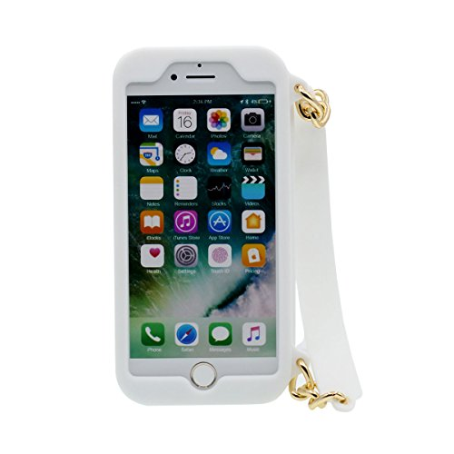 "iPhone 6S Coque Case Silicone Gel 3D Peu iPhone Sac à main Portefeuille Original Désign Souple étui pour Apple iPhone 6 6S 4.7"" Anti Choc Blanc"