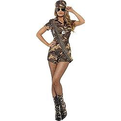 Smiffys Déguisement uniforme militaire femme sexy, camouflage, avec combi-short, ceintur,Camouflage,S