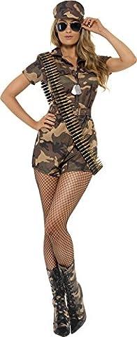 Smiffys, Damen Sexy Armee Girl Kostüm, Kurzoverall, Gürtel und Mütze, Größe: S, 28864 (Großbritannien Kostüm)