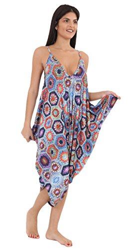 LUL® Damen Bedruckt Lagenlook Strappy Baggy Harem Overall Kleid Top Spielanzug Cami 16-30 Gr. 56, Knitted Floral Floral Strappy Kleid