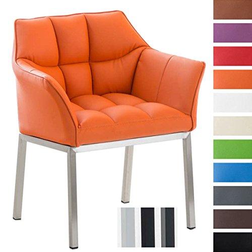 Clp poltroncina lounge octavia in similpelle   sedia salotto imbottita sedia soggiorno design telaio 4 gambe, base in acciaio alt.seduta 49 cm arancione colore piedistallo: acciaio inox