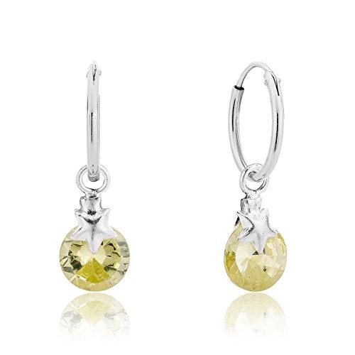 DTP Silver - Orecchini a cerchio piccoli con pendenti Rotondi - Argento 925 con Cristalli Swarovski - Colore: Giallo Jonquil