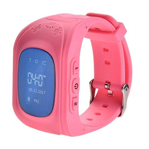 DUWIN Kinder Smart Watch | Smartwatch| Armbanduhr | GPS,SOS, Telefon, Sprachnachrichten, Standortlokalisierung per App, Ortung, Tracker | - verwendbar mit Micro Sim Karte, Pink