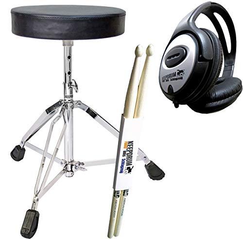 keepdrum Zubehörset für E-Drum - Schlagzeug Hocker + Kopfhörer + Drumsticks