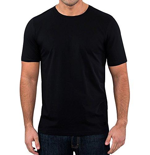 Retro Rot Herren Supima Short Sleeve Crew Neck, Einfarbig Schwarz weicher Baumwolle Designer T Shirt Gr. XX-Large, schwarz (Crew Bio-l/s Tee)