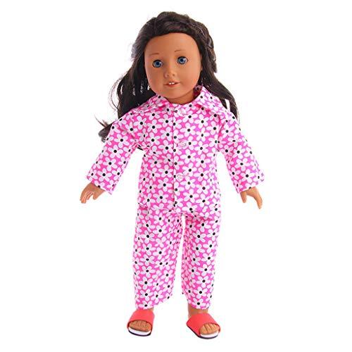 Conjunto de Pijama Top Estampado de Manga Larga + pantalón a Imprimiendo Moda para 18 Pulgadas muñeca Americana Accesorio de Juguete de la niña Gusspower