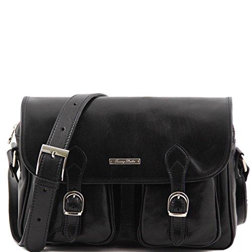 Tuscany Leather San Marino Borsa da viaggio in pelle con tasche frontali Testa di Moro Nero