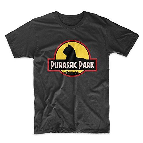 Purassic Park Komisch Movie Parody Cat Herren T-Shirt Schwarz