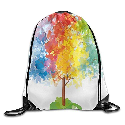 Etryrt Mochilas/Bolsas de Gimnasia,Bolsas de Cuerdas, Multicolored Abstract Tree Seasons of The Year Inspirations Blooming Drawstring Gym Sack Sport Bag For Men and Women